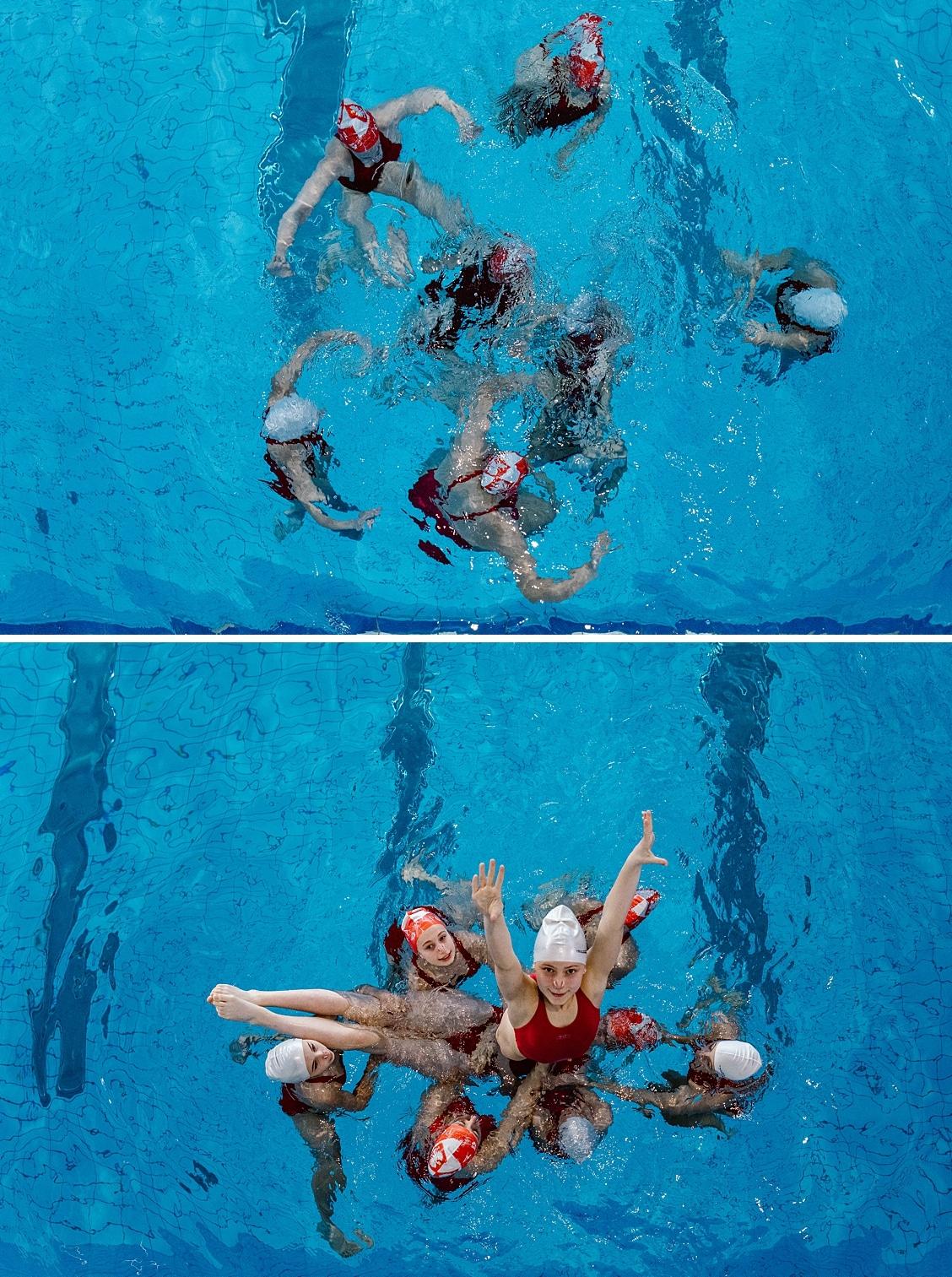 plywanie synchroniczne, z bliska, z bliska fotografia, fotografia rodzinna, termy maltańskie